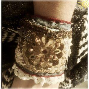 Inspirational Bohemian Textile Cuff Bracelet